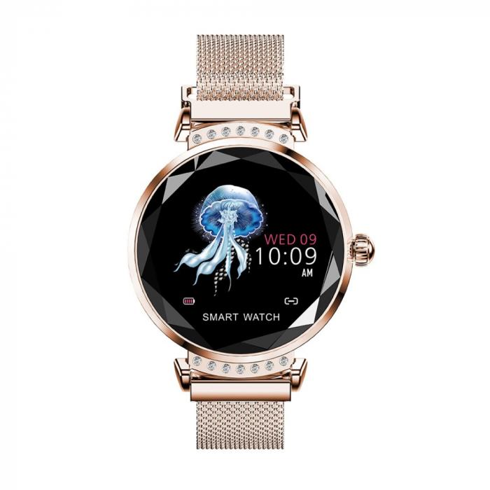 Ceas Smartwatch fitness fashion H2 cu functie de monitorizare ritm cardiac, Notificari, Pedometru, Bluetooth, Metal, Auriu [0]