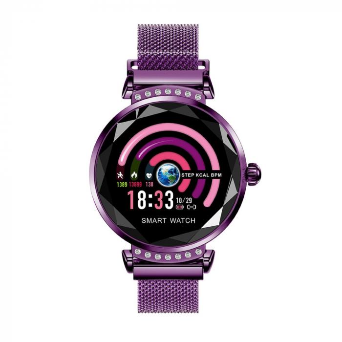 Ceas Smartwatch fitness fashion H2 cu functie de monitorizare ritm cardiac, Notificari, Pedometru, Bluetooth, Metal, Mov [0]