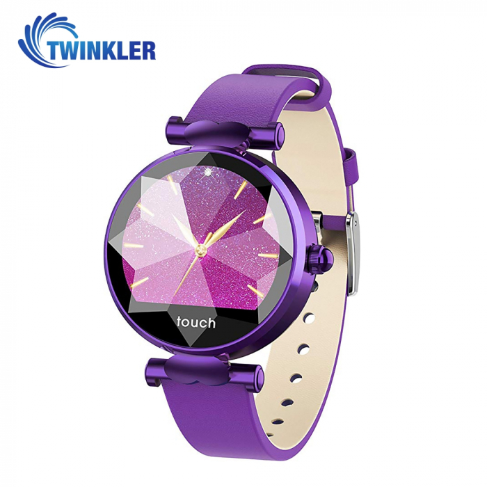 Ceas Smartwatch fitness fashion TKY-B80 Piele cu functie de monitorizare ritm cardiac, Tensiune arteriala, Monitorizare somn, Notificari Apel/ SMS, Mov [0]