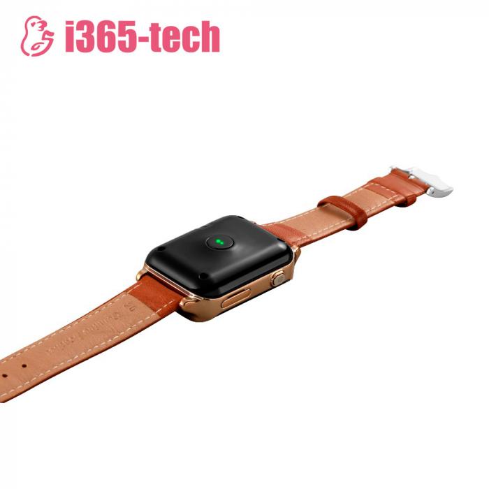 Ceas Smartwatch Pentru Adulti / Varstnici i365-Tech A16 cu Functie Telefon, Senzor puls, Localizare GPS, Pedometru ; Maro [3]