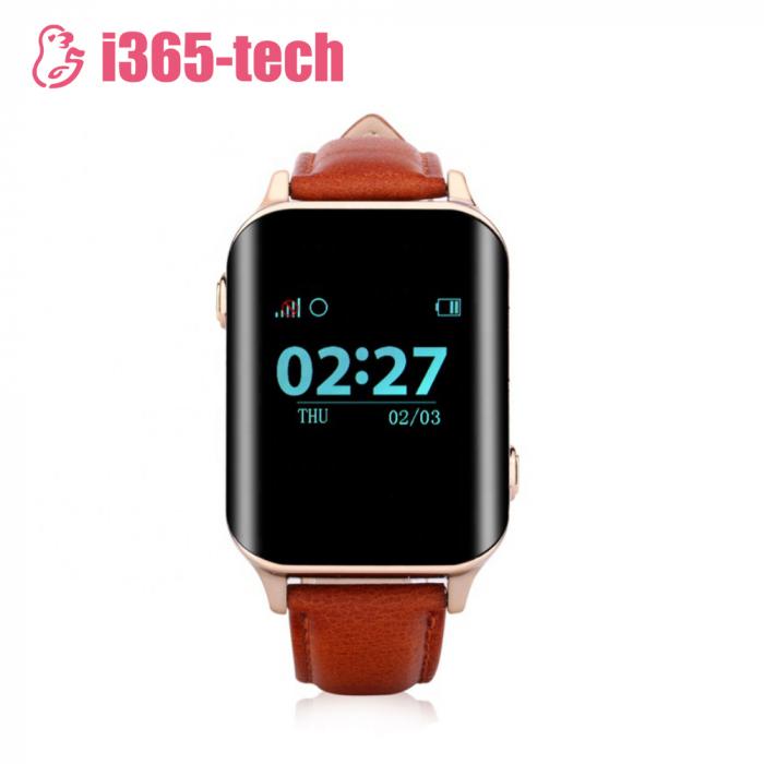 Ceas Smartwatch Pentru Adulti / Varstnici i365-Tech A16 cu Functie Telefon, Senzor puls, Localizare GPS, Pedometru ; Maro [1]