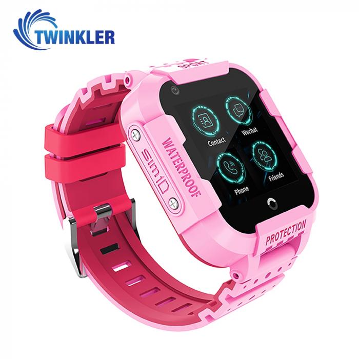 Ceas Smartwatch Pentru Copii Twinkler TKY-DF27 cu Functie Telefon, Apel video, Localizare GPS, Istoric traseu, Camera, SOS, Android, 4G, IP54, Joc Matematic, Roz, Cartela SIM Cadou [0]