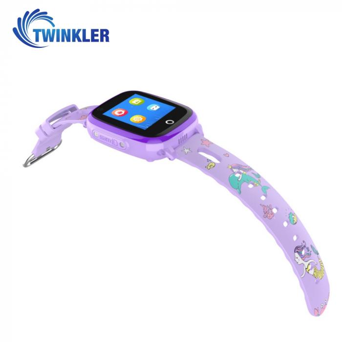 Ceas Smartwatch Pentru Copii Twinkler TKY-DF33 cu Functie Telefon, Apel video, Localizare GPS, Camera, Lanterna, SOS, Android, 4G, IP54, Joc Matematic ; Mov, Cartela SIM Cadou [1]