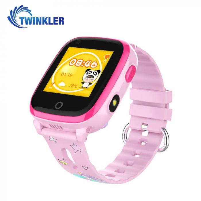 Ceas Smartwatch Pentru Copii Twinkler TKY-DF33 cu Functie Telefon, Apel video, Localizare GPS, Camera, Lanterna, SOS, Android, 4G, IP54, Joc Matematic ; Roz, Cartela SIM Cadou [0]