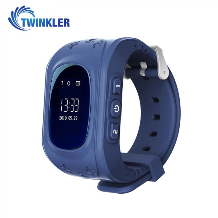 Ceas Smartwatch Pentru Copii Twinkler TKY-Q50 cu Functie Telefon, Localizare GPS, Pedometru, SOS ; Albastru, Cartela SIM Cadou [0]
