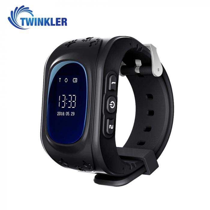 Ceas Smartwatch Pentru Copii Twinkler TKY-Q50 cu Functie Telefon, Localizare GPS, Pedometru, SOS ; Negru, Cartela SIM Cadou [0]