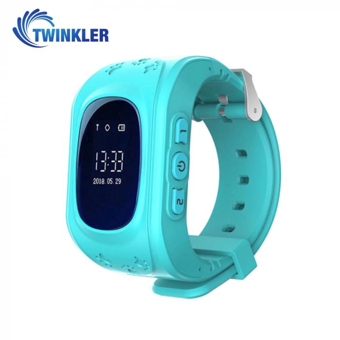Ceas Smartwatch Pentru Copii Twinkler TKY-Q50 cu Functie Telefon, Localizare GPS, Pedometru, SOS ; Turcoaz, Cartela SIM Cadou [0]