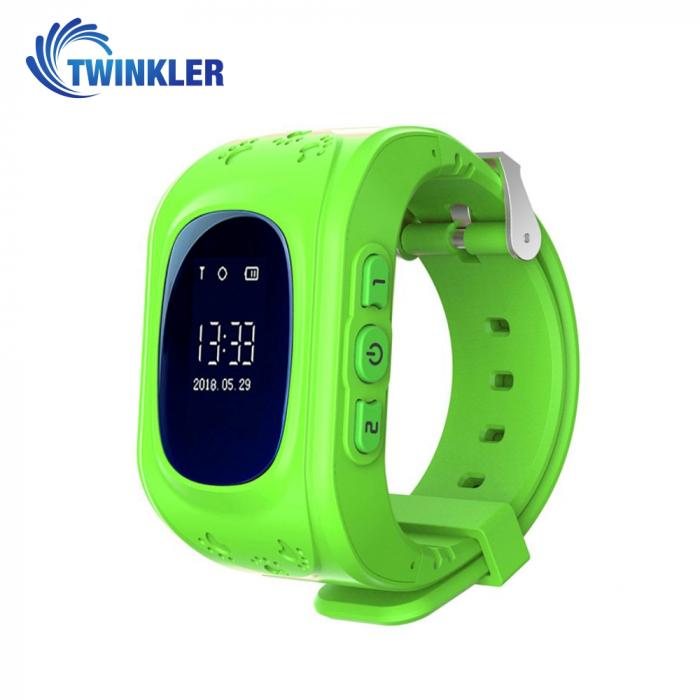 Ceas Smartwatch Pentru Copii Twinkler TKY-Q50 cu Functie Telefon, Localizare GPS, Pedometru, SOS ; Verde, Cartela SIM Cadou [0]