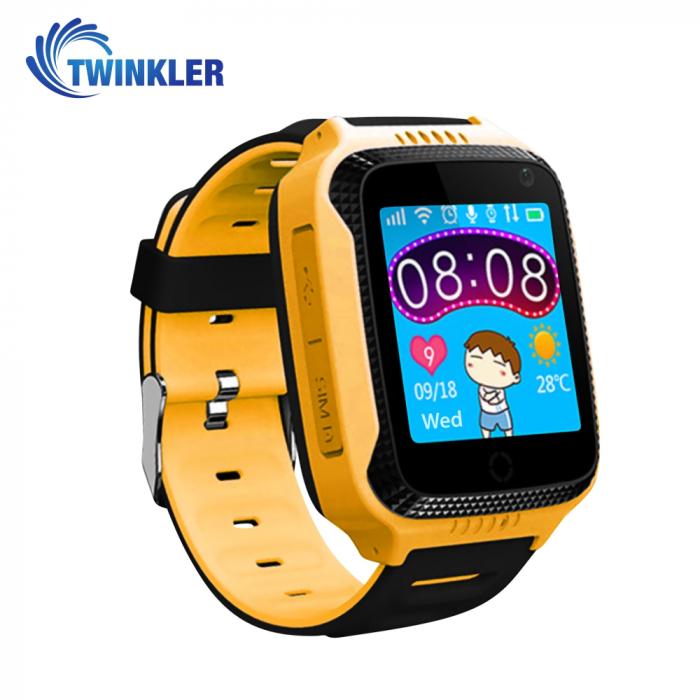 Ceas Smartwatch Pentru Copii Twinkler TKY-Q529 cu Functie Telefon, Localizare GPS, Camera, Pedometru, SOS, Lanterna, Joc Matematic ; Galben, Cartela SIM Cadou [0]