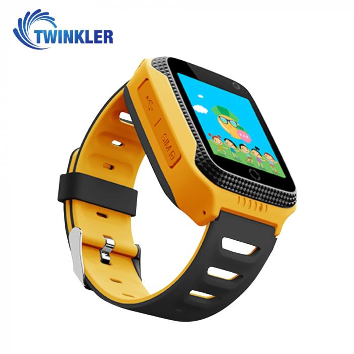 Ceas Smartwatch Pentru Copii Twinkler TKY-Q529 cu Functie Telefon, Localizare GPS, Camera, Pedometru, SOS, Lanterna, Joc Matematic ; Galben, Cartela SIM Cadou [1]