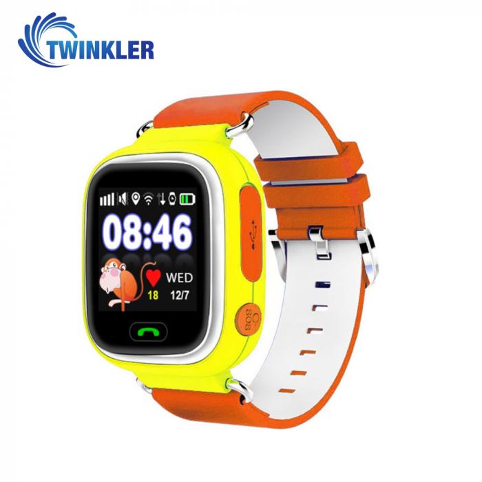 Ceas Smartwatch Pentru Copii Twinkler TKY-Q90 cu Functie Telefon, Localizare GPS, Pedometru, SOS, Joc Matematic ; Galben, Cartela SIM Cadou [0]