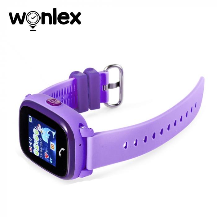 Ceas Smartwatch Pentru Copii Wonlex GW400S WiFi cu Functie Telefon, Localizare GPS, Pedometru, SOS, IP54 ; Mov, Cartela SIM Cadou [3]