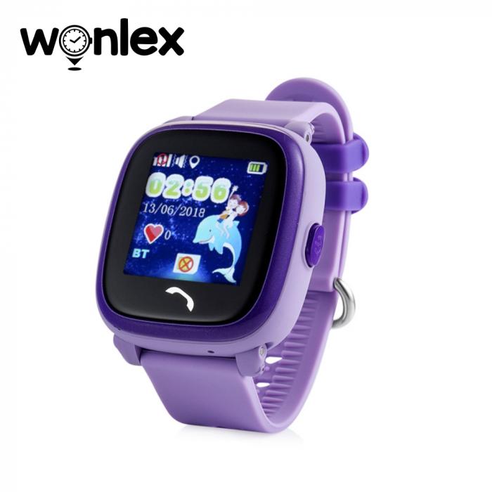 Ceas Smartwatch Pentru Copii Wonlex GW400S WiFi cu Functie Telefon, Localizare GPS, Pedometru, SOS, IP54 ; Mov, Cartela SIM Cadou [0]