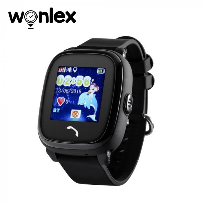 Ceas Smartwatch Pentru Copii Wonlex GW400S WiFi cu Functie Telefon, Localizare GPS, Pedometru, SOS, IP54 ; Negru, Cartela SIM Cadou [0]