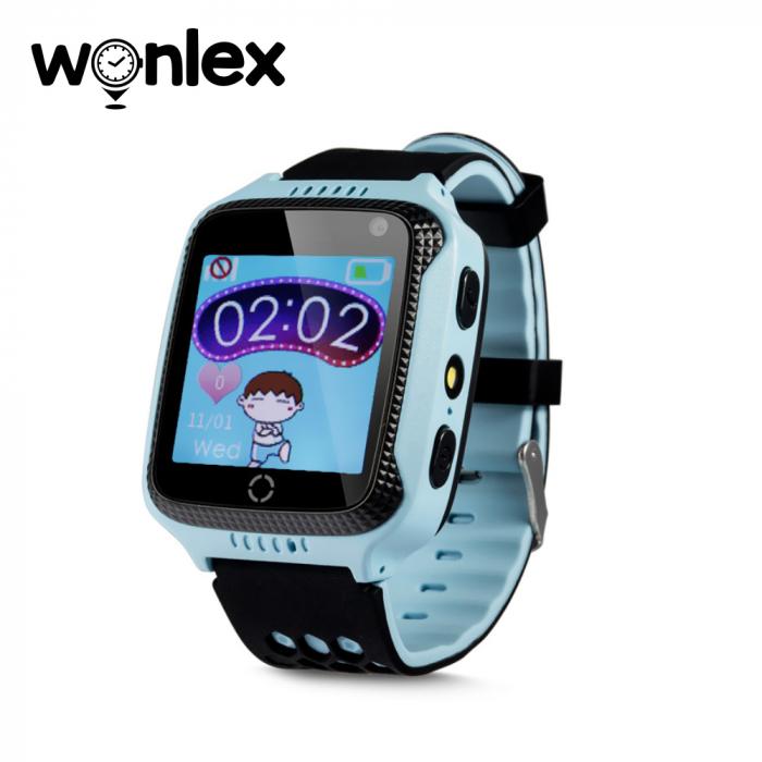 Ceas Smartwatch Pentru Copii Wonlex GW500s cu Functie Telefon, Localizare GPS, Camera, Lanterna, Pedometru, SOS ; Albastru, Cartela SIM Cadou [0]