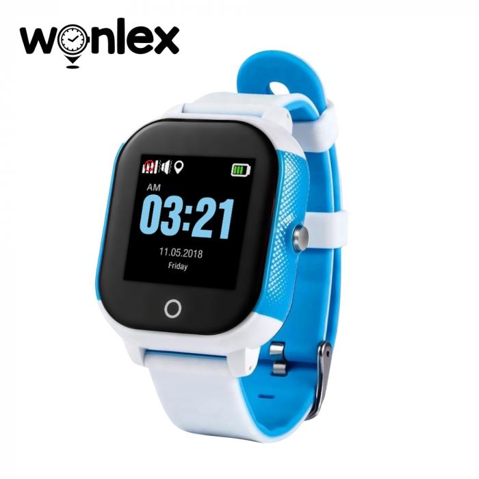 Ceas Smartwatch Pentru Copii Wonlex GW700S cu Functie Telefon, Localizare GPS, Pedometru, SOS, IP54 ; Alb-Albastru, Cartela SIM Cadou [0]