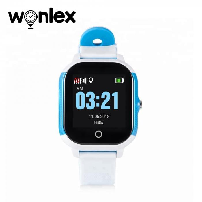 Ceas Smartwatch Pentru Copii Wonlex GW700S cu Functie Telefon, Localizare GPS, Pedometru, SOS, IP54 ; Alb-Albastru, Cartela SIM Cadou [1]