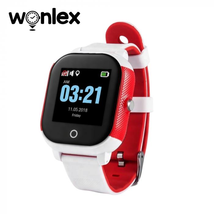 Ceas Smartwatch Pentru Copii Wonlex GW700S cu Functie Telefon, Localizare GPS, Pedometru, SOS, IP54 ; Alb-Rosu, Cartela SIM Cadou [0]