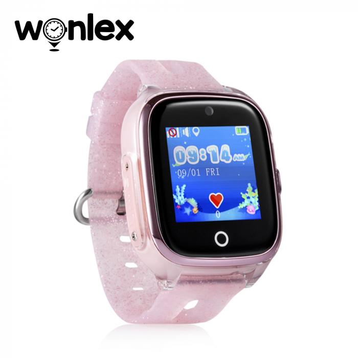 Ceas Smartwatch Pentru Copii Wonlex KT01 cu Functie Telefon, Localizare GPS, Camera, Pedometru, SOS, IP54 ; Roz Pal, Cartela SIM Cadou [1]