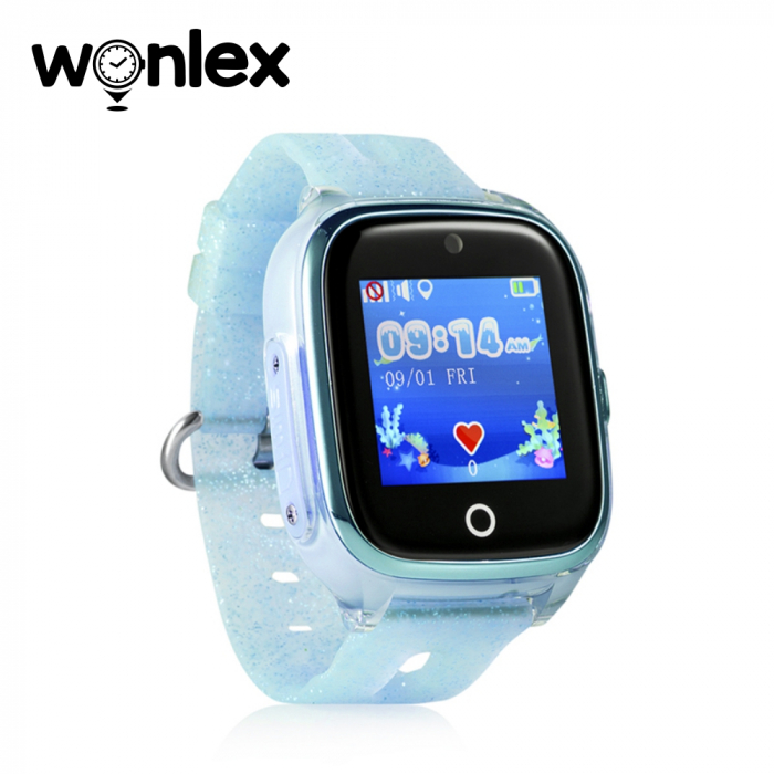 Ceas Smartwatch Pentru Copii Wonlex KT01 cu Functie Telefon, Localizare GPS, Camera, Pedometru, SOS, IP54 ; Turcoaz, Cartela SIM Cadou [1]