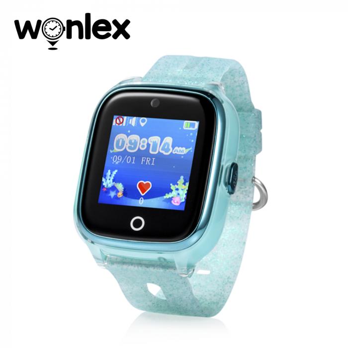 Ceas Smartwatch Pentru Copii Wonlex KT01 cu Functie Telefon, Localizare GPS, Camera, Pedometru, SOS, IP54 ; Turcoaz, Cartela SIM Cadou [0]