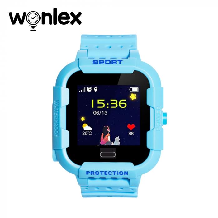 Ceas Smartwatch Pentru Copii Wonlex KT03 cu Functie Telefon, Localizare GPS, Camera, Pedometru, SOS, IP54 ; Albastru, Cartela SIM Cadou [1]