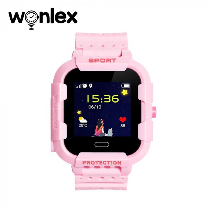 Ceas Smartwatch Pentru Copii Wonlex KT03 cu Functie Telefon, Localizare GPS, Camera, Pedometru, SOS, IP54 ; Roz, Cartela SIM Cadou [1]