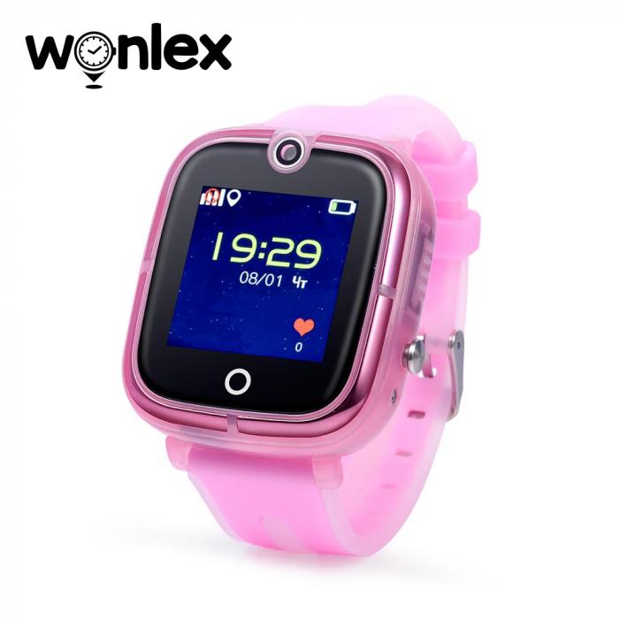 Ceas Smartwatch Pentru Copii Wonlex KT07 cu Functie Telefon, Localizare GPS, Camera, Apel Monitorizare, Pedometru, SOS ; Roz, Cartela SIM Cadou [0]