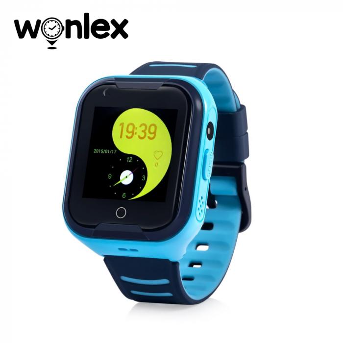 Ceas Smartwatch Pentru Copii Wonlex KT11 cu Functie Telefon, Apel video, Localizare GPS, Camera, Pedometru, Lanterna, SOS, IP54, 4G ; Albastru, Cartela SIM Cadou [0]