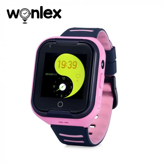 Ceas Smartwatch Pentru Copii Wonlex KT11 cu Functie Telefon, Apel video, Localizare GPS, Camera, Pedometru, Lanterna, SOS, IP54, 4G ; Roz, Cartela SIM Cadou [0]