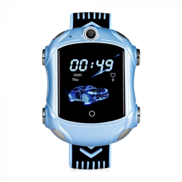 Ceas Smartwatch Pentru Copii, Wonlex KT14, Supercar, Albastru, SIM card, 4G, Rezistent la stropi accidentali IP54, Apel video [1]