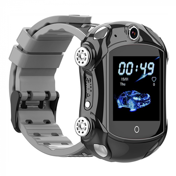 Ceas Smartwatch Pentru Copii, Wonlex KT14, Supercar, Negru, SIM card, 4G, Rezistent la stropi accidentali IP54, Apel video [0]