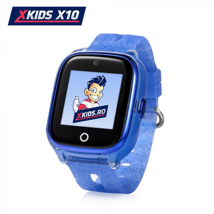 Ceas Smartwatch Pentru Copii Xkids X10 cu Functie Telefon, Localizare GPS, Apel monitorizare, Camera, Pedometru, SOS, IP54, Albastru, Cartela SIM Cadou [0]
