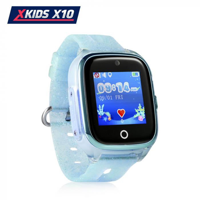 Ceas Smartwatch Pentru Copii Xkids X10 cu Functie Telefon, Localizare GPS, Apel monitorizare, Camera, Pedometru, SOS, IP54, Turcoaz, Cartela SIM Cadou, Meniu romana [1]