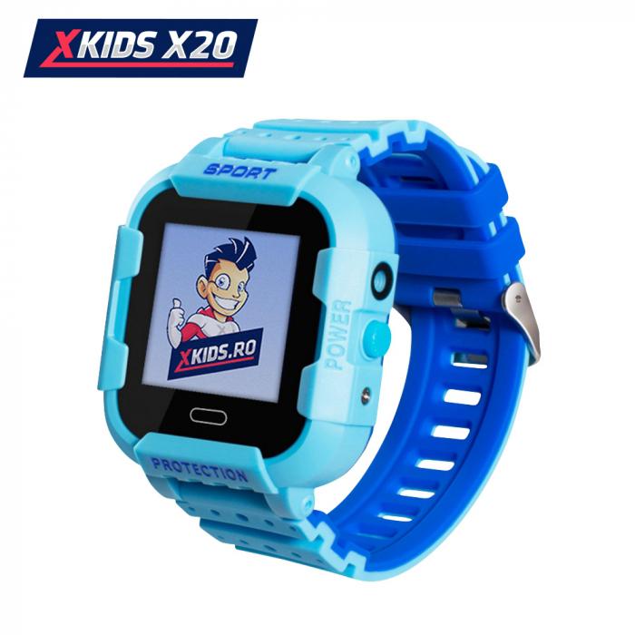 Ceas Smartwatch Pentru Copii Xkids X20 cu Functie Telefon, Localizare GPS, Apel monitorizare, Camera, Pedometru, SOS, IP54, Incarcare magnetica, Albastru, Cartela SIM Cadou, Meniu engleza [0]