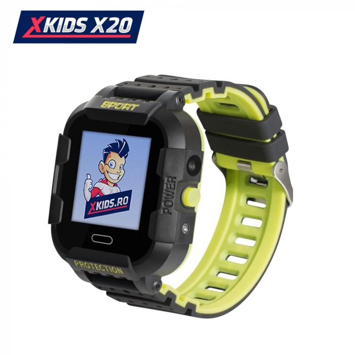 Ceas Smartwatch Pentru Copii Xkids X20 cu Functie Telefon, Localizare GPS, Apel monitorizare, Camera, Pedometru, SOS, IP54, Incarcare magnetica, Negru ; Verde Lamaie, Cartela SIM Cadou, Meniu romana [0]