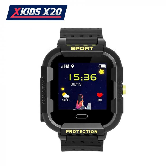 Ceas Smartwatch Pentru Copii Xkids X20 cu Functie Telefon, Localizare GPS, Apel monitorizare, Camera, Pedometru, SOS, IP54, Incarcare magnetica, Negru ; Verde Lamaie, Cartela SIM Cadou, Meniu romana [1]