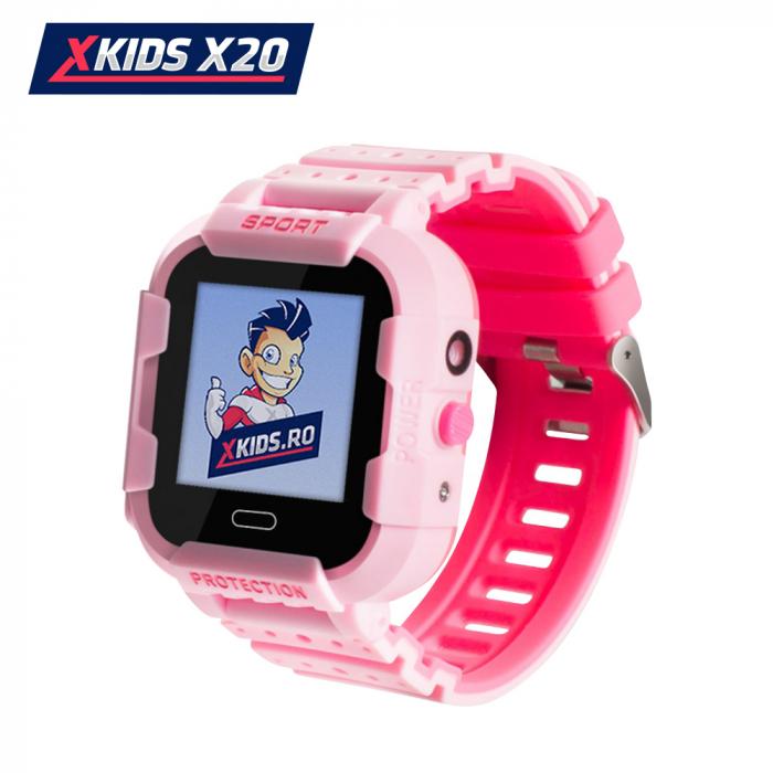 Ceas Smartwatch Pentru Copii Xkids X20 cu Functie Telefon, Localizare GPS, Apel monitorizare, Camera, Pedometru, SOS, IP54, Incarcare magnetica, Roz, Cartela SIM Cadou, Meniu romana [0]