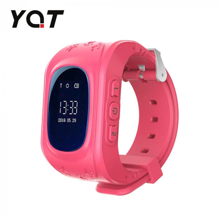 Ceas Smartwatch Pentru Copii YQT Q50 cu Functie Telefon, Localizare GPS, Pedometru, SOS ; Roz, Cartela SIM Cadou [0]
