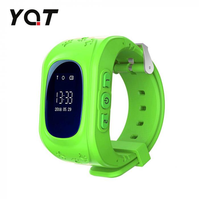 Ceas Smartwatch Pentru Copii YQT Q50 cu Functie Telefon, Localizare GPS, Pedometru, SOS ; Verde, Cartela SIM Cadou [0]