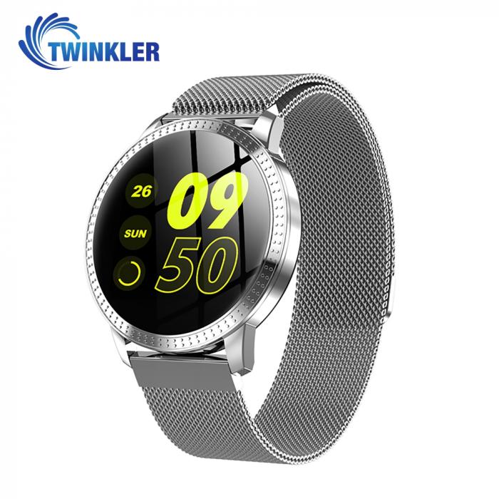 Ceas Smartwatch TKY-CF18 cu Functie de monitorizare ritm cardiac, Tensiune arteriala, Notificari Apel/ SMS, Pedometru, Functie respingere apel, Argintiu [0]