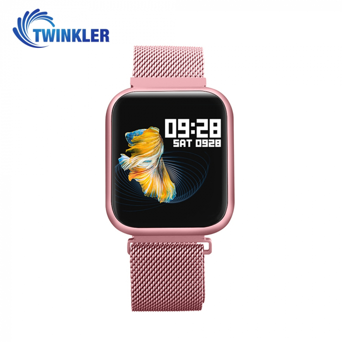 Ceas Smartwatch TKY-P80 cu functie de monitorizare ritm cardiac, Tensiune arteriala, Nivel oxigen, Monitorizare somn, Notificari Apel/ SMS, Bluetooth, Incarcare magnetica, Roz [0]