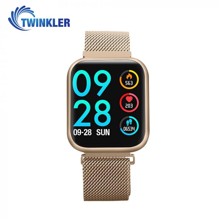 Ceas Smartwatch TKY-P80 cu functie de monitorizare ritm cardiac, Tensiune arteriala, Nivel oxigen, Monitorizare somn, Notificari Apel/ SMS, Bluetooth, Incarcare magnetica, Auriu [0]