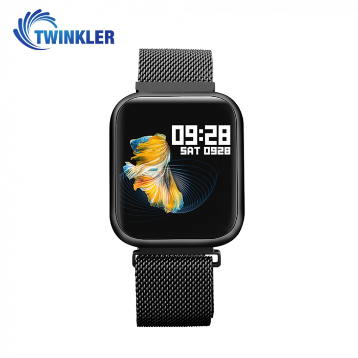 Ceas Smartwatch TKY-P80 cu functie de monitorizare ritm cardiac, Tensiune arteriala, Nivel oxigen, Monitorizare somn, Notificari Apel/ SMS, Bluetooth, Incarcare magnetica, Negru [0]