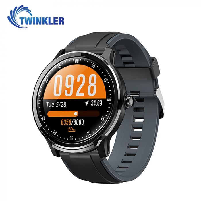 Ceas Smartwatch TKY-QS80 cu functie de monitorizare ritm cardiac, Tensiune arteriala, Nivel oxigen, Pedometru, Distanta parcursa, Calorii arse, Notificari Apel/ SMS, Negru-Gri [0]
