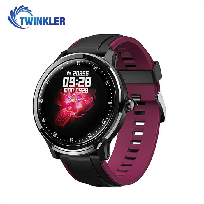 Ceas Smartwatch TKY-QS80 cu functie de monitorizare ritm cardiac, Tensiune arteriala, Nivel oxigen, Pedometru, Distanta parcursa, Calorii arse, Notificari Apel/ SMS, Negru-Violet [0]