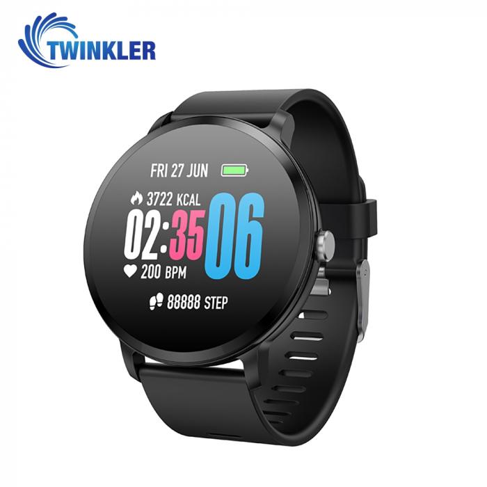 Ceas Smartwatch TKY-V11 cu Functie de monitorizare ritm cardiac, Tensiune arteriala, Nivel oxigen,  Monitorizare somn, Notificari Apel/ SMS, Negru [0]
