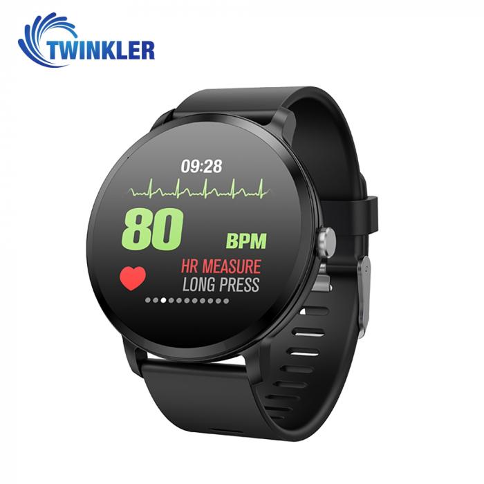 Ceas Smartwatch TKY-V11 cu Functie de monitorizare ritm cardiac, Tensiune arteriala, Nivel oxigen,  Monitorizare somn, Notificari Apel/ SMS, Negru [1]