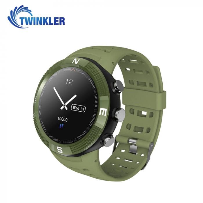 Ceas Smartwatch Twinkler TKY-F18 cu functie de monitorizare ritm cardiac, Nivel calitate somn, GPS, Busola, Incarcare magnetica, Verde [0]