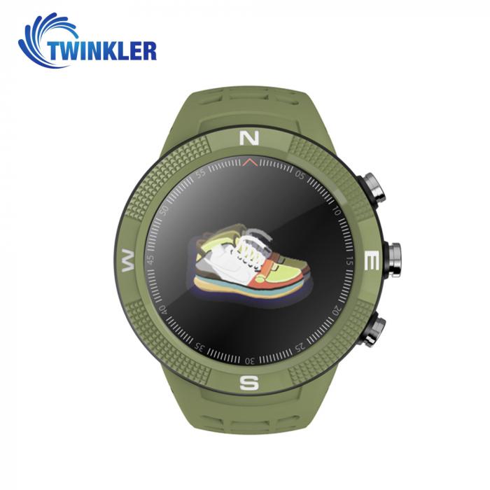 Ceas Smartwatch Twinkler TKY-F18 cu functie de monitorizare ritm cardiac, Nivel calitate somn, GPS, Busola, Incarcare magnetica, Verde [1]